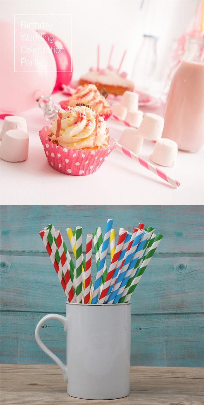 Degrading Kraft Paper Colored Paper Straws Long 20cm With Caliber 0.5cm
