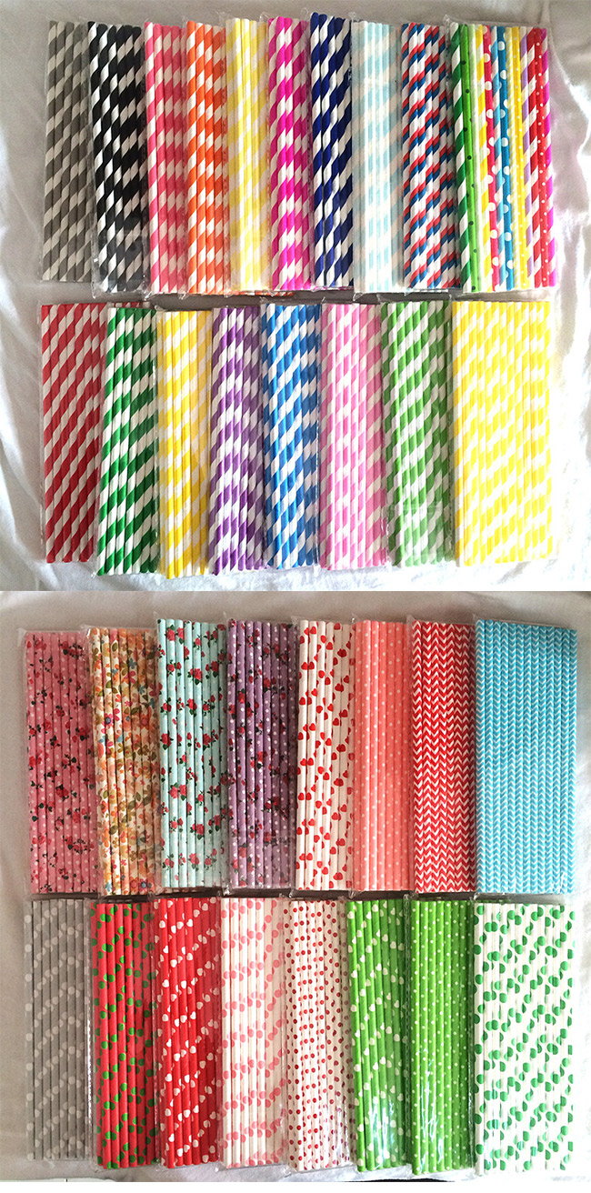 Chromatic Paper Drinking Straws Customized Long Caliber And Printed Different Style