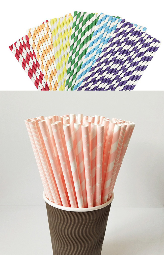 Funny Decorative Paper Straws Striped Party Straws Pink And Gold Color