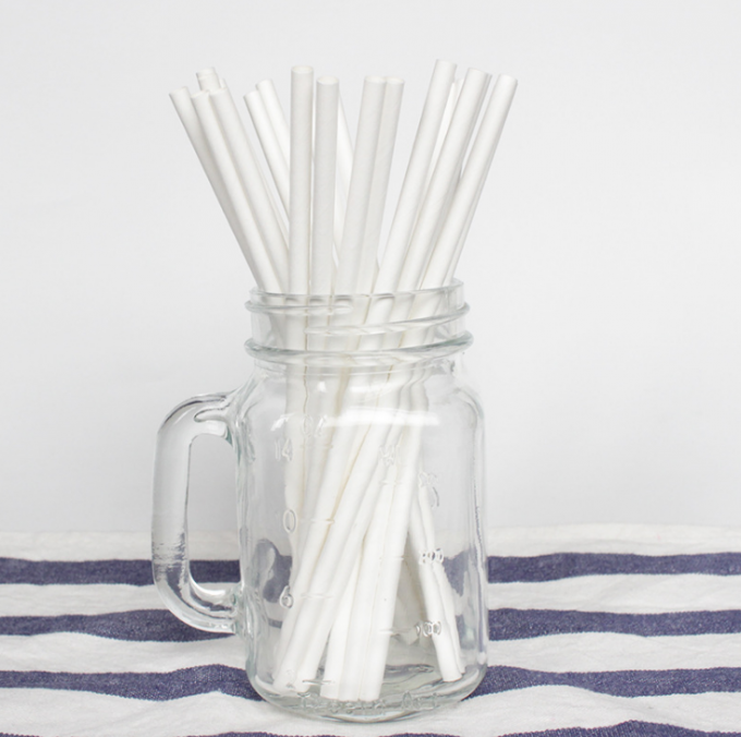 Customized Logo Solid Color Paper Straws , Fancy Straws For Weddings