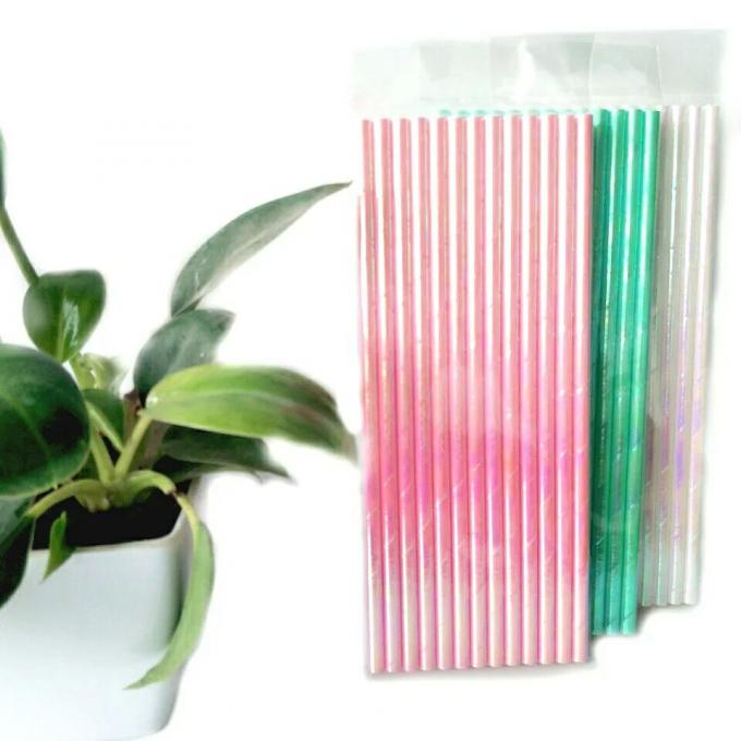 Beautiful Colored Paper Straws Cocktail Sucker With Different Colors