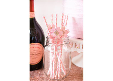 China Funny Decorative Paper Straws Striped Party Straws Pink And Gold Color supplier