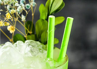 China Eco Friendly bamboo paper straws Birch Wood Design Green Decorative Paper Straws supplier