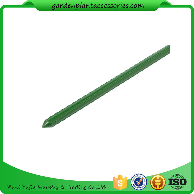 China Green Steel Garden Stakes PE Plastic Coated 8mm Diameter , 60cm  Length Plant Support Steel