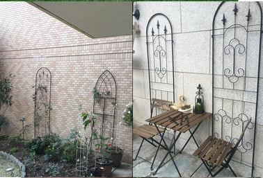 Black Color Garden Plant Trellis / Metal Garden Trellis Simple Understated  Design