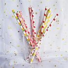 Customized Printing Colored Paper Straws , Patterned Drinking Straws For Party